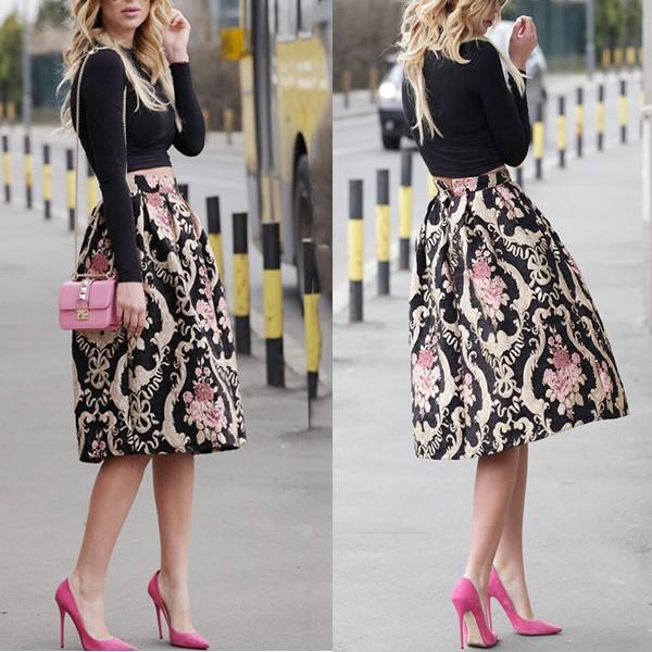 Midi retro suknja