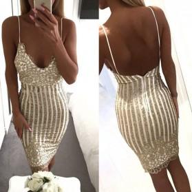 Midi zlatna party haljina otvorenih leđa