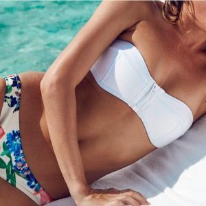 Bandeau push up zipper kupaći kostim cvjetne gaćice