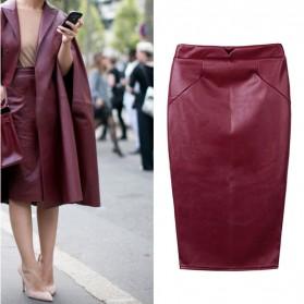 Kožna midi pencil suknja crvena smeđa
