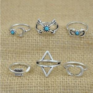 Set od 6 mini prstenova mjesec strijela