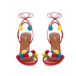 Stiletto pom pom sandale