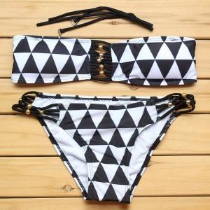 Dvodijelni bandeau push up kupaći kostim geometrijskog printa