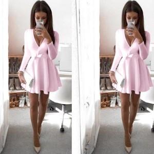 Mini zvono haljina s vezanje