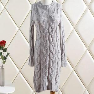 Mini pletena pulover haljina dugih rukava