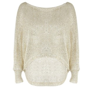 Široki pleteni prozračni pulover sa šljokicama