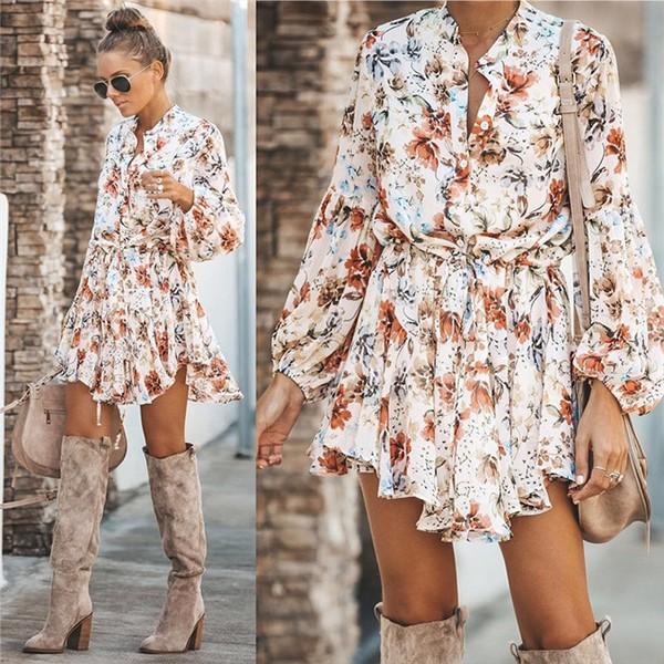 Mini cvjetna lepršava haljina dugih rukava