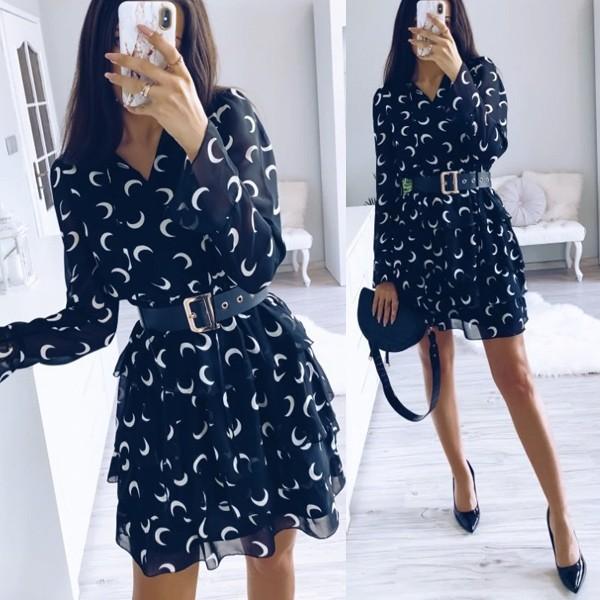 Mini haljina na volane s vezicama