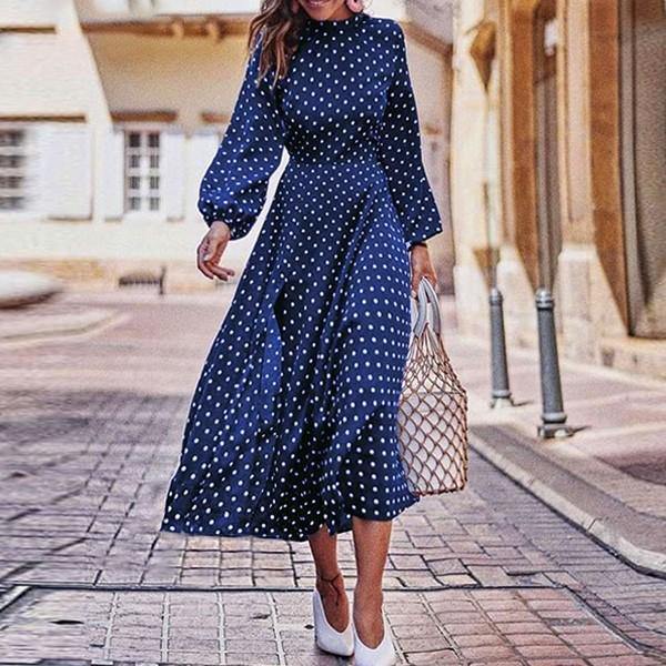 Midi točkasta haljina s prorezom