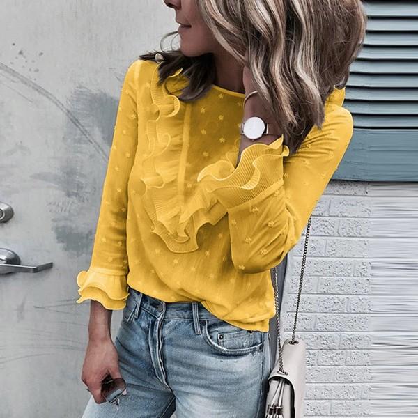 Vintage točkasta bluza dugih rukava na volane