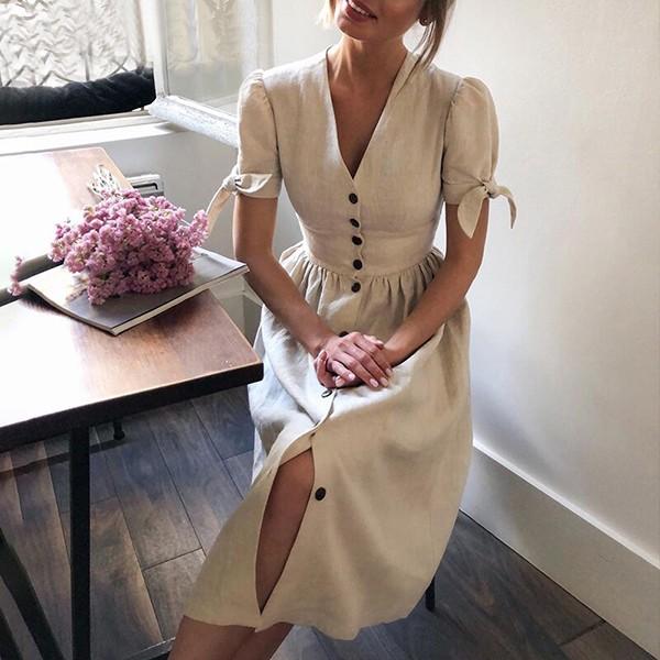 Midi pamučna haljina puf rukava