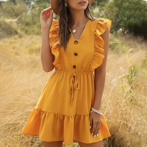 Mini prozračna haljina na sitne volane