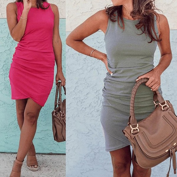 Mini nabrana haljina preklopnog izgleda