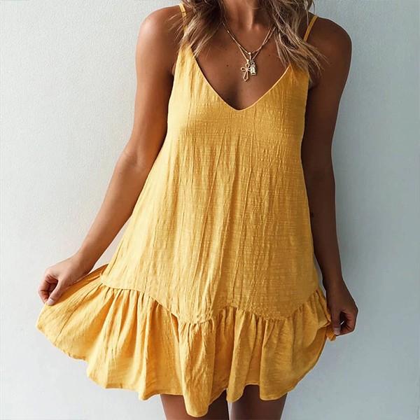 Mini pamučna haljina na volane 3 boje