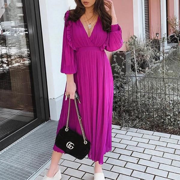 Midi haljina na volane dugih rukava