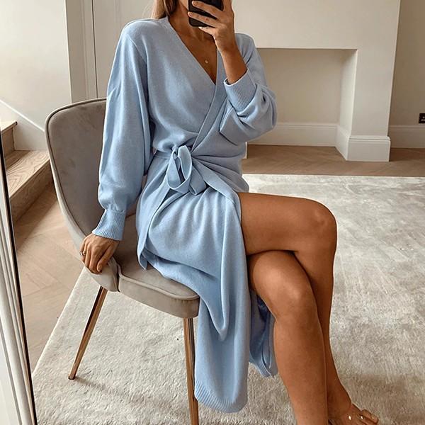 Pletena kardigan haljina preklopnog izgleda