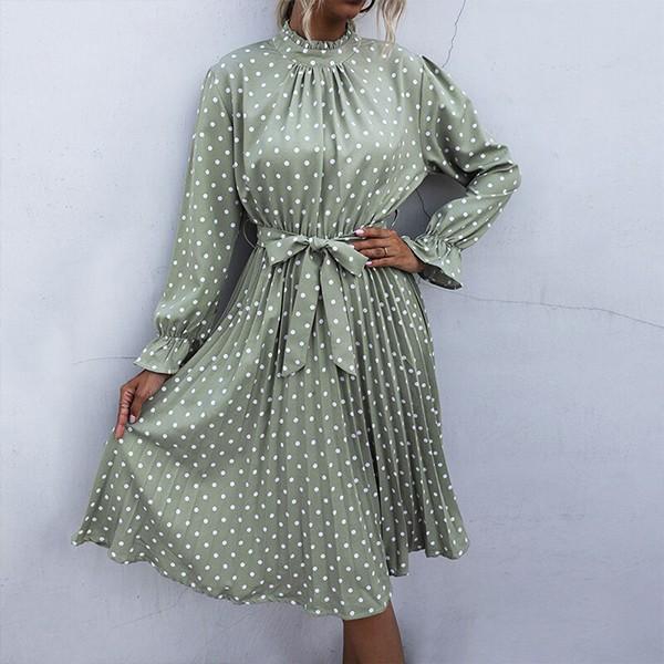 Midi plisirana haljina na točkice povišenog ovratnika