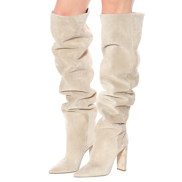 Čizmice iznad koljena izgleda brušene kože