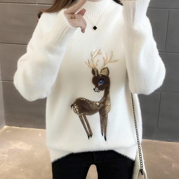 Mekani čupavi blagdanski pulover s jelenom od glittera 5 boja
