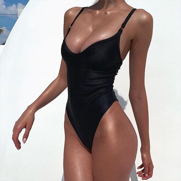 Jednodijelni rebrasti push up kupaći kostim s brazilskim gaćicama 9 BOJA