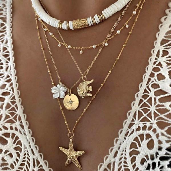 Ogrlica od 5 lančića morska zvijezda slon