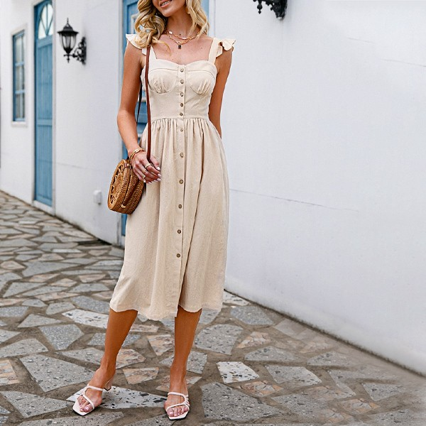 Midi pamučna haljina s volanima na dugmad 3 BOJE *Limitirana kolekcija*