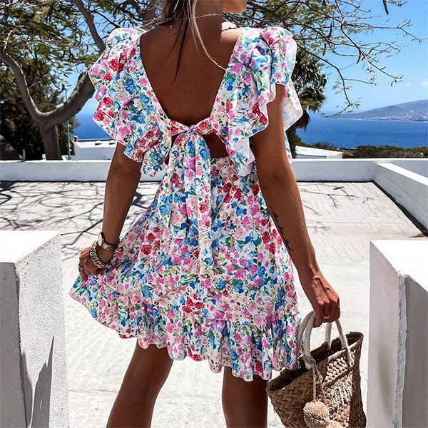 Mini cvjetna haljina na volane otvorenih leđa