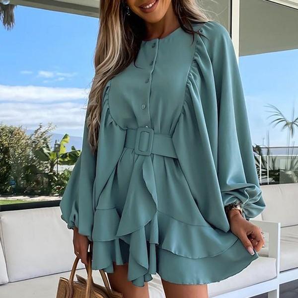 Mini haljina na volane s remenom 5 BOJA