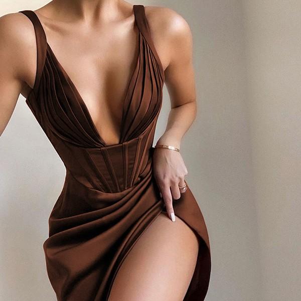 Luksuzna svečana korzet haljina od satena dubokog izreza 3 BOJE *Premium kvaliteta*