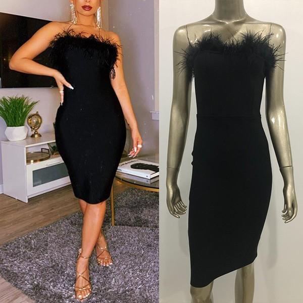 Luksuzna bandage haljina s perjem 2 BOJE BOJE *Premium*