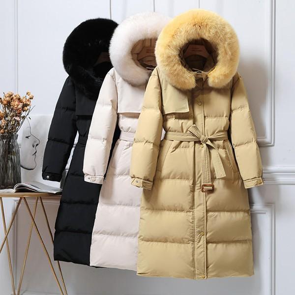 Zimska jakna srednje duljine s krznom na kapuljači 4 BOJE