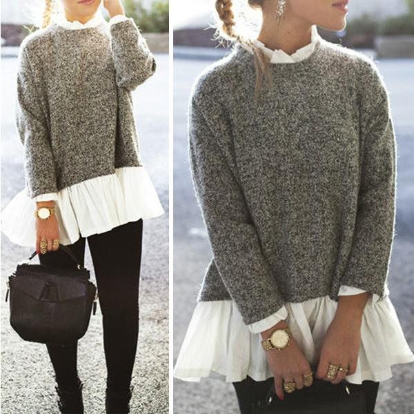 Sivi pulover s košuljom