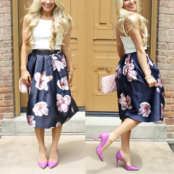 Midi proljetna cvjetna suknja