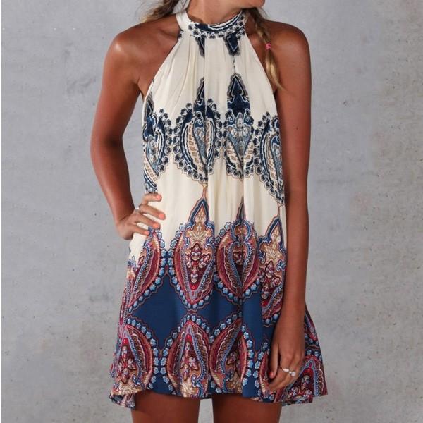 Etno boho mini haljina tunika za plažu