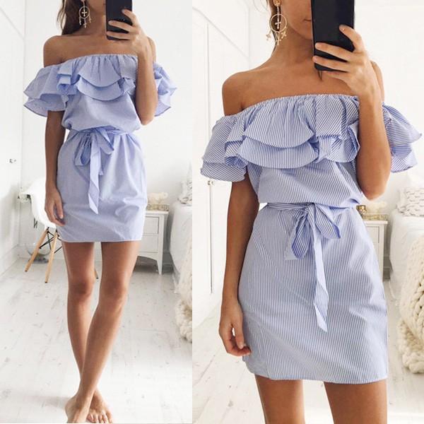 Mini prugasta haljina s dvostrukim volanom