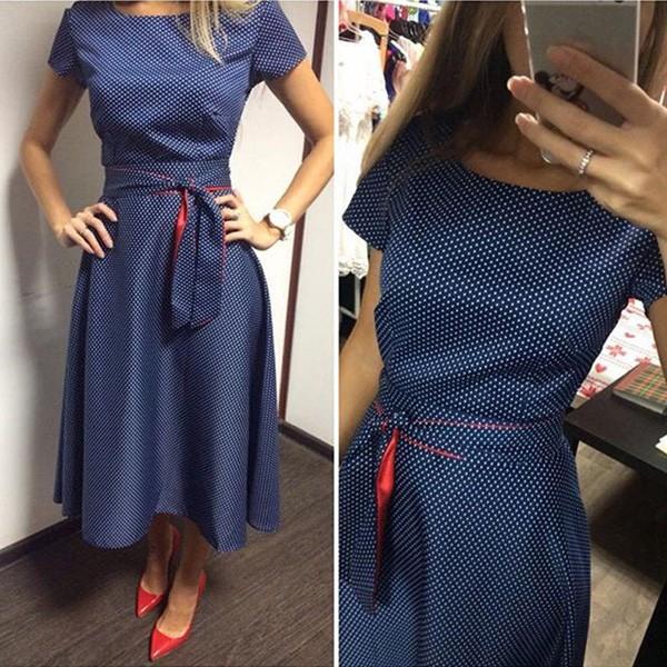 Midi vintage haljina s točkicama