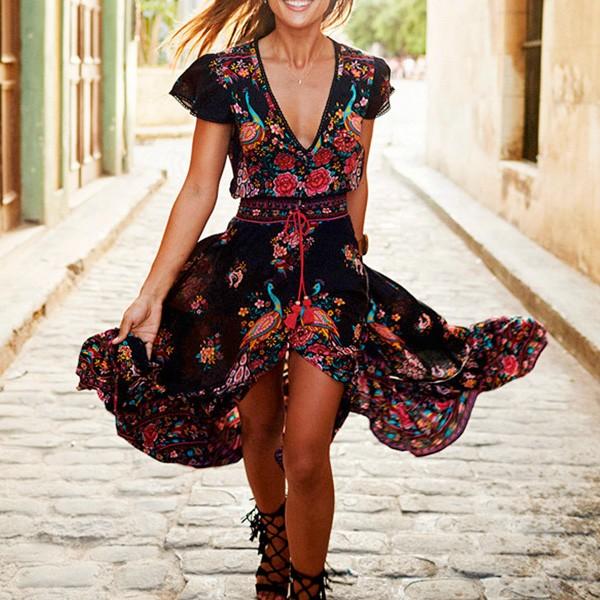 Boho cvjetna asimetrična tunika haljina