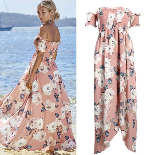 Cvjetna asimetrična off shoulder haljina
