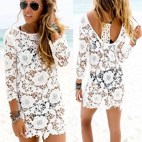 Čipkana cvjetna tunika za plažu