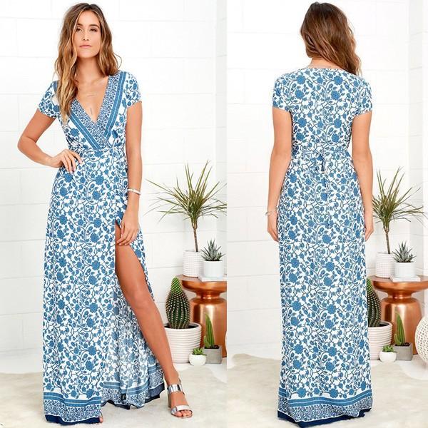 Maxi duga elegantna haljina porculanskog uzorka