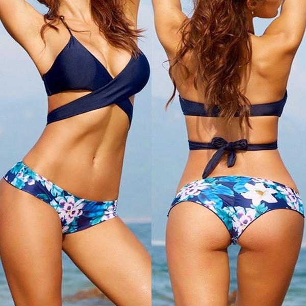 Bandage push up kupaći kostim cvjetnog uzorka