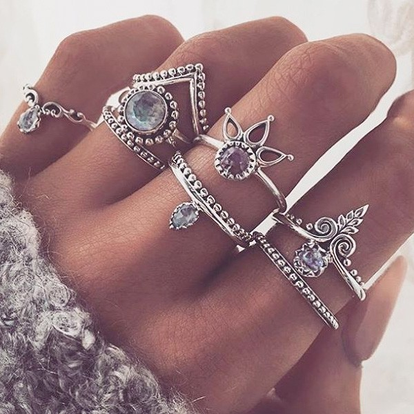 Set od 8 mini vintage prstenova