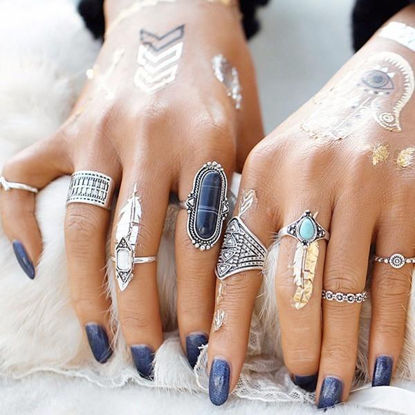 Set od 8 antiknih mini prstenova
