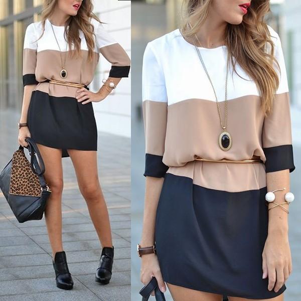 Mini trobojna šift haljina