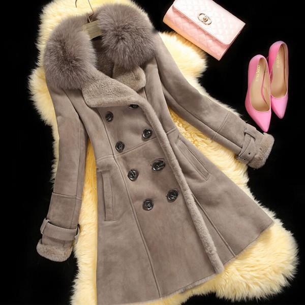 Zimski kaput izgleda brušene kože s krznenom ispunom
