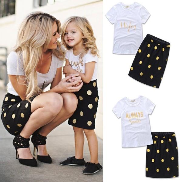 Komplet majica + suknja za mame i djevojčice