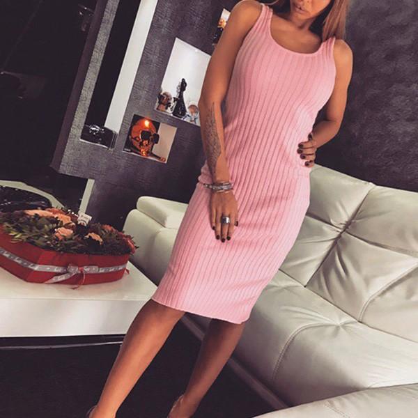 Mini rebrasta roza haljina bez rukava