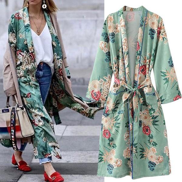Midi cvjetni tirkizno zeleni kimono