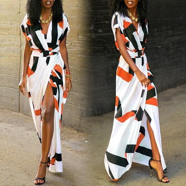 Duga haljina na preklop geometrijskog printa stndardni M/38