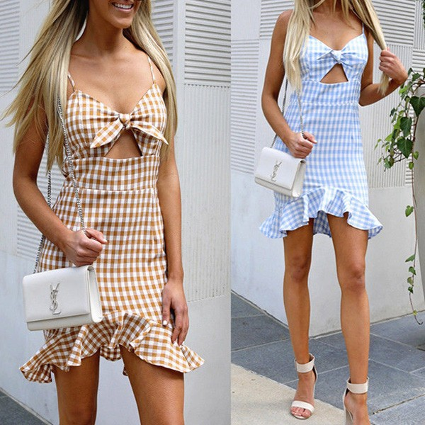 Mini kockasta haljina s volanima